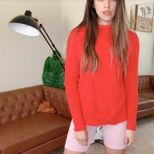 TAHARI Comfy Red Knit Light Sweater Cowl Neck